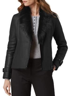 LK Bennett L.K.Bennett Linda Sheepskin & Real Sheep Shearling Moto-Style Jacket