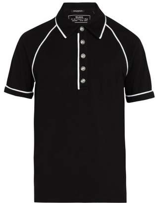 Balmain Cotton Pique Polo Shirt - Mens - Black