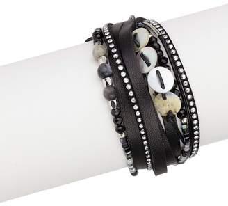 Saachi Catalan Leather & Bead Detail Double Wrap Bracelet