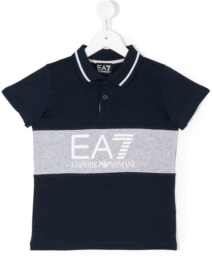 Ea7 Kids logo print polo shirt