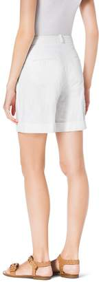 Michael Kors Pleated Crushed-Cotton Trouser Shorts