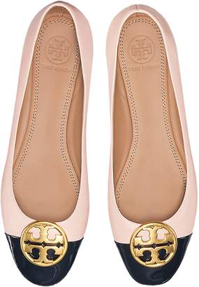 Tory Burch Seashell Pink Nappa & Perfect Navy Patent Leather Chelsea Cap-Toe Ballet Flats