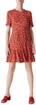 Whistles Peony-Print Pleated Dress