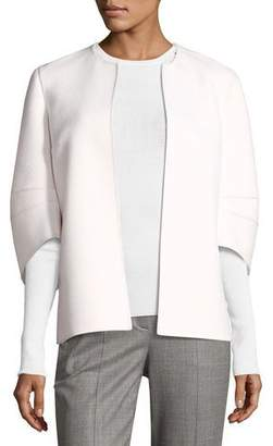 Michael Kors Collection Cookie Collarless Short Jacket with Articulated Sleeve, White $2,195 thestylecure.com
