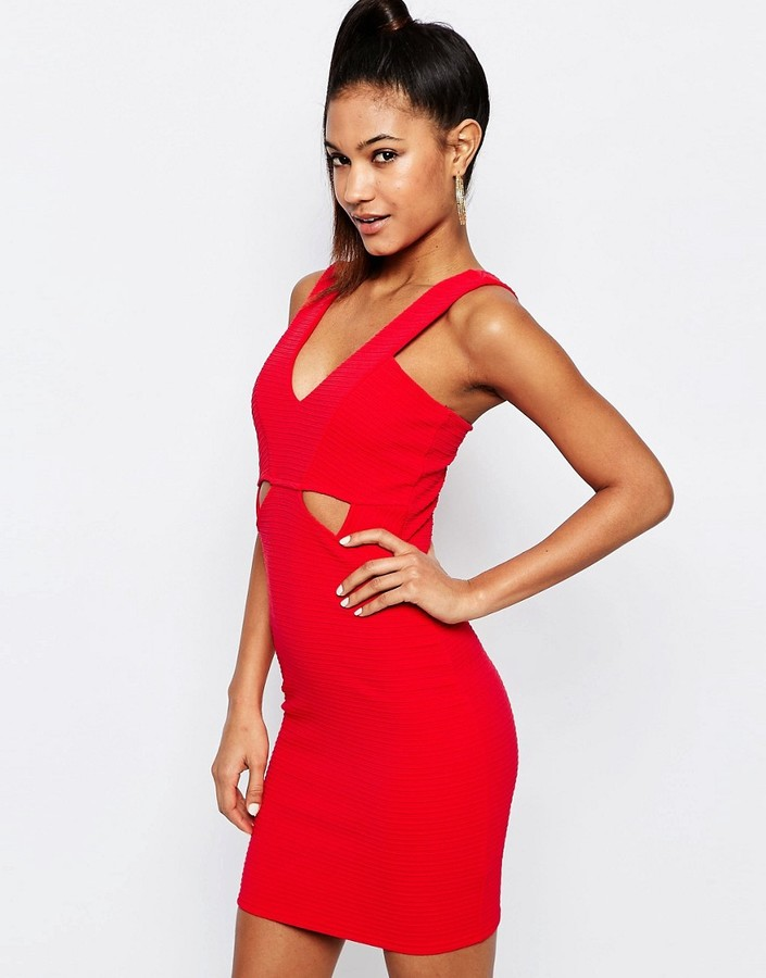 Ariana Grande for Lipsy Ribbed Bodycon Cut Out Dress