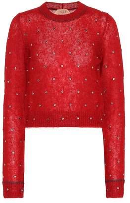N°21 Embellished mohair-blend sweater