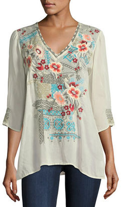 Johnny Was Freyja Embroidered 3/4-Sleeve Blouse, Plus Size $240 thestylecure.com