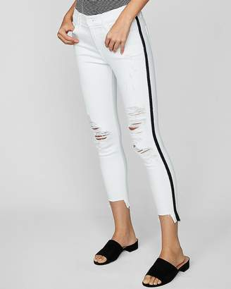 Express Mid Rise Side Stripe Ripped Stretch Cropped Jean Leggings