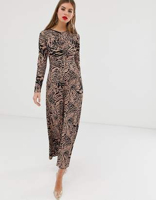 Asos Design DESIGN crew neck ruched front animal print maxi dress