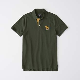 Abercrombie & Fitch A&F Men's Exploded Icon Stretch Polo in Dark Green - Size XS