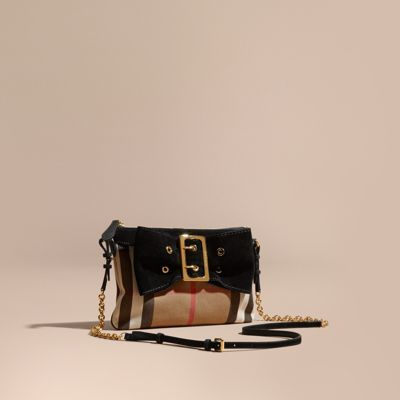Burberry House Check Clutch Bag with Suede Buckled Bow