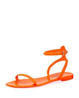 Valentino Rubber Studded Flat Sandal $239 thestylecure.com