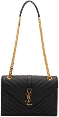 Saint Laurent Black Medium Envelope Monogramme Chain Bag
