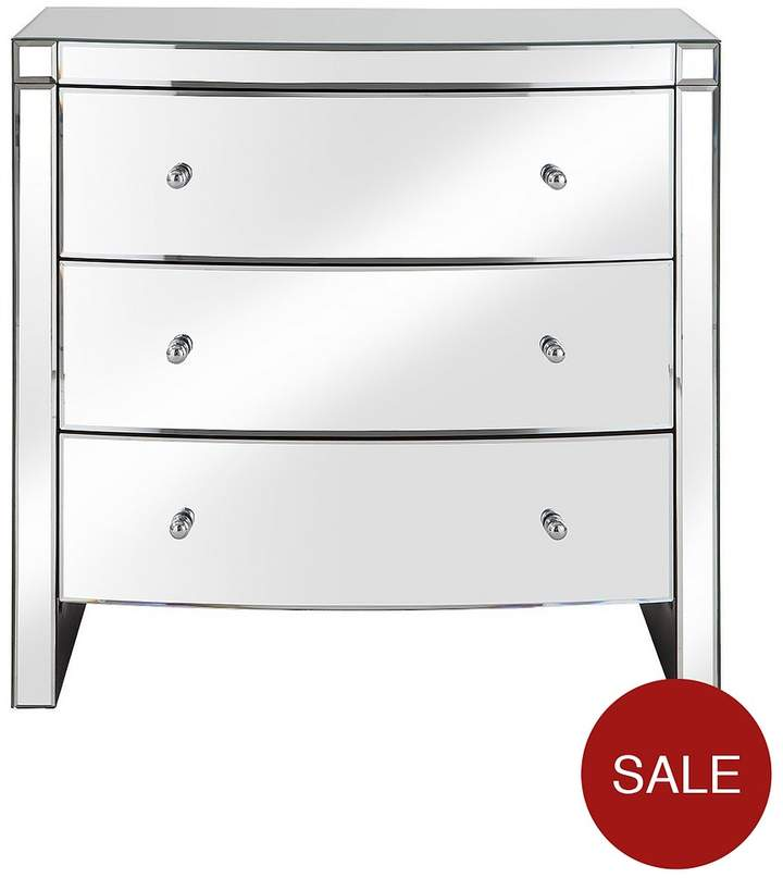 Curved Mirror Wide 3 Drawer Chest
