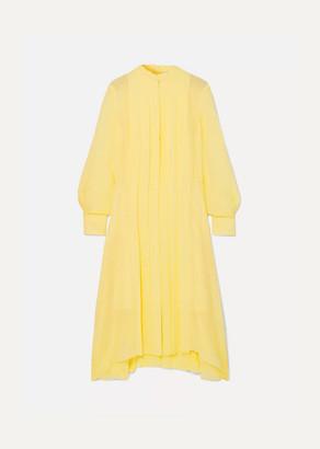 Chloé Pleated Silk-chiffon Dress - Yellow