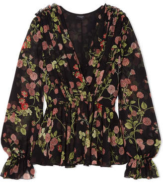 Giambattista Valli Wrap-effect Floral-print Silk-georgette Blouse - Black