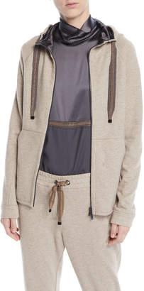 Brunello Cucinelli Zip-Front Felpa Cashmere-Cotton Jacket w/ Satin Inner Hood