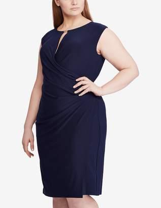 Lauren Ralph Lauren Keyhole Stretch Jersey Dress in Navy Blue Size 14