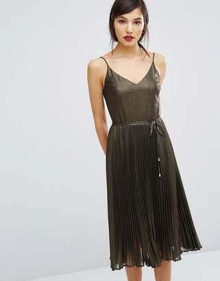 Oasis Metallic Pleated Cami Dress $113 thestylecure.com