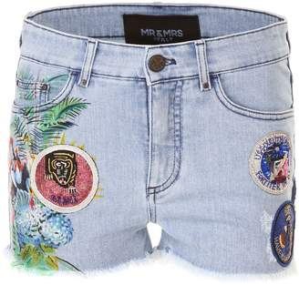 Mr & Mrs Italy Printed Shorts With Patches