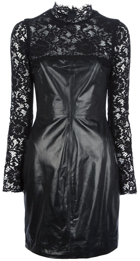 Valentino leather and lace dress
