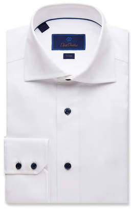 David Donahue Men's Trim-Fit Micro-Textured Dress Shirt