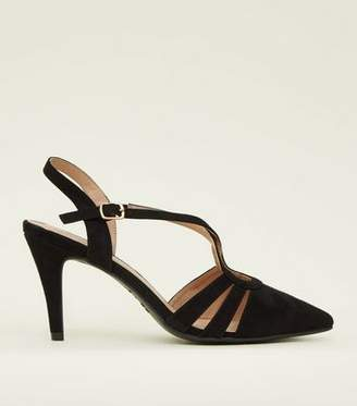 46f5adb07363 New Look Wide Fit Black Suedette Strappy Pointed Courts