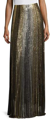 Balmain Women's Metallic Striped Long Skirt