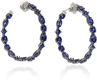 Nam Cho 18K White Gold Rhodium-Plated Sapphire And Diamond Hoop Earrings
