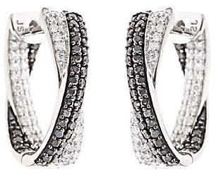 Affinity Diamond Jewelry Black & White Diamond Hoop Earrings, Sterling 1