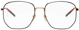 Gucci Black and Gold Octagonal Glasses