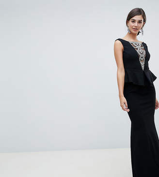 City Goddess Tall structured peplum maxi dress with embellished detail