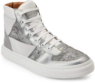 Marc Jacobs Grey Laser-Cut Mixed Media High Top Sneakers