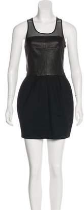 Elizabeth and James Leather-Paneled Mini Dress