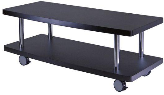 Winsome Evans Black MDF/Chrome Home Living Room TV Media Stand With Curved Shelf