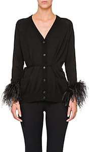 Prada Women's Ostrich-Feather-Embellished Cotton Cardigan - Black