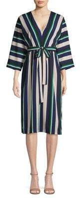 French Connection Striped Belted A-Line Dress
