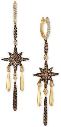 LeVian Le Vian Chocolatier Diamond Star Dangle Drop Earrings (1-1/5 ct. t.w.) in 14k Gold