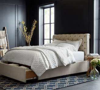 Pottery Barn Chesterfield Upholstered Tufted Footboard Storage Bed