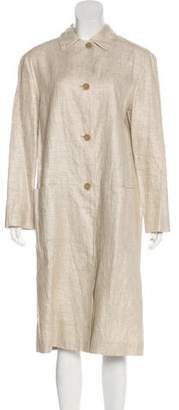 Philosophy di Alberta Ferretti Linen-Blend Lightweight Long Coat
