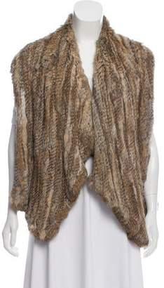 Alice + Olivia Knit Rabbit Fur Vest