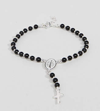Reclaimed Vintage Inspired Black Beaded Bracelet With Cross Charm In Sterling Silver Exclusive To ASOS