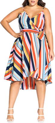 City Chic Freedom Stripe Wrap Dress