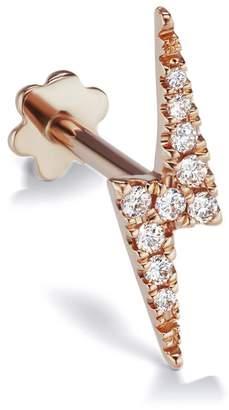 Lightning Bolt Maria Tash 11mm Diamond Threaded Single Earring - Rose Gold
