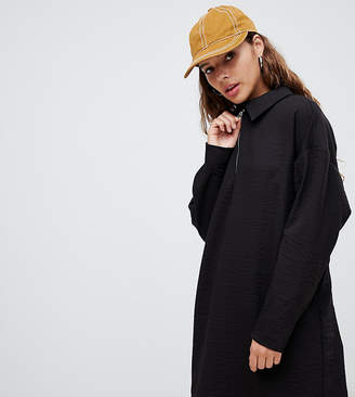 Weekday collar zip front mini dress in black