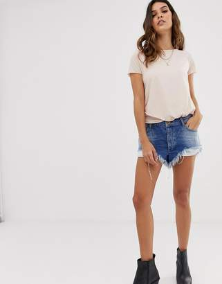 One Teaspoon rollers low waist relaxed fit short with raw hem