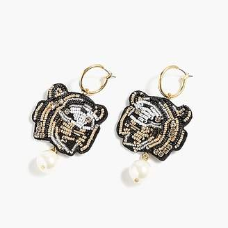 J.Crew Leather-backed beaded tiger earrings