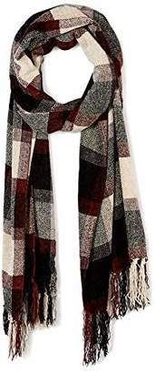 Women Black Red Chenille Scarf Winter Warm Soft Grid Long Tassel Scarf