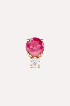 Jemma Wynne 18-karat Rose Gold, Ruby And Diamond Earring - one size
