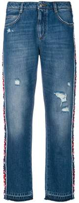 Ermanno Scervino floral applique side stripe jeans